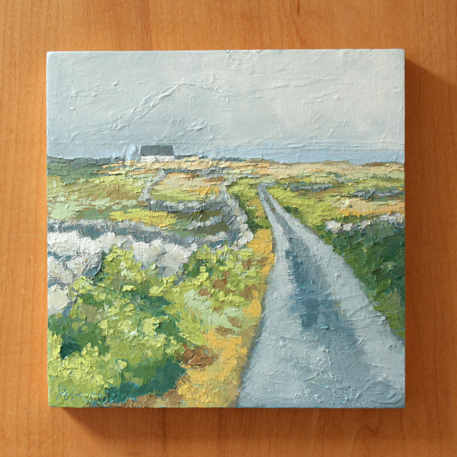 impressionistic landscape oil painting of a country road through fields divided by old stone walls with a white cottage in the distance