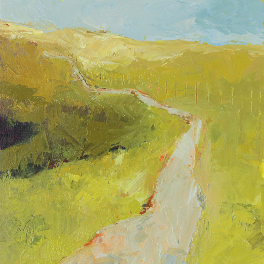 oil painting of a trail leading across lumpy yellow and green fields