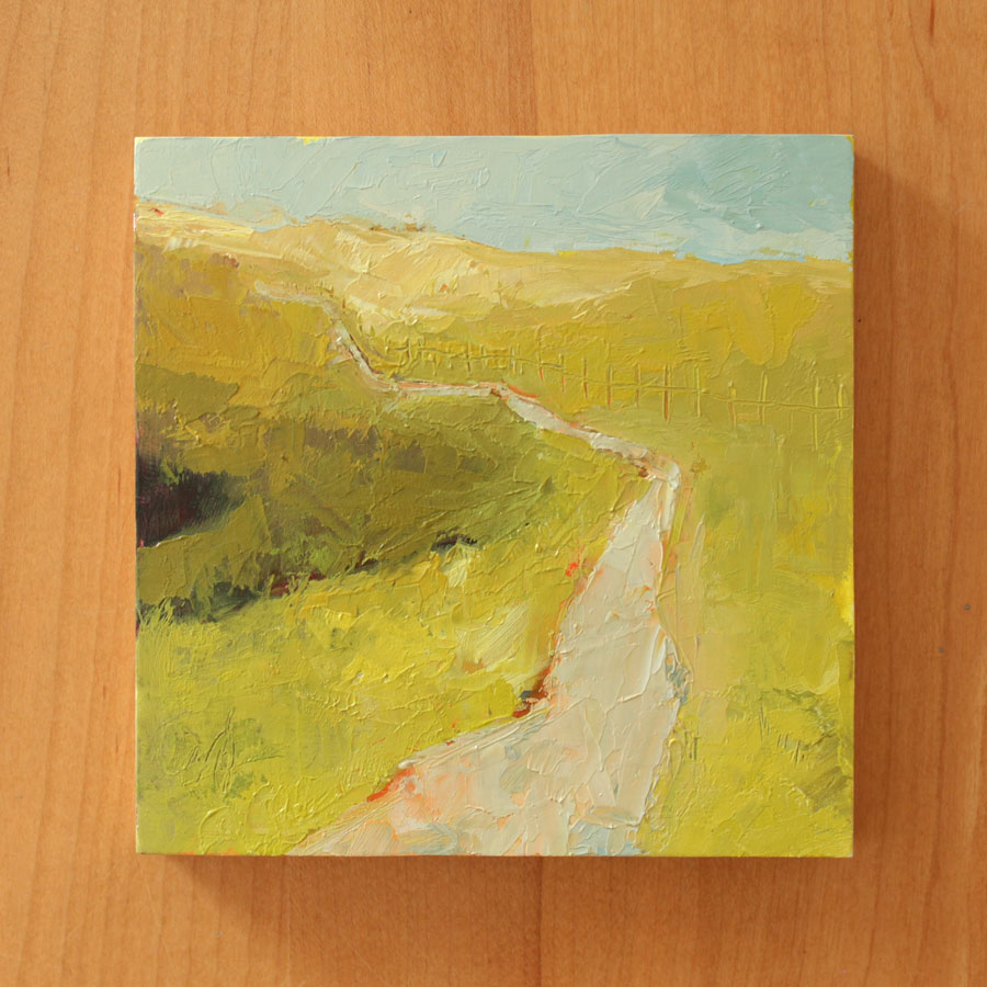 semi abstract landscape oil painting of a trail leading across lumpy yellow and green fields