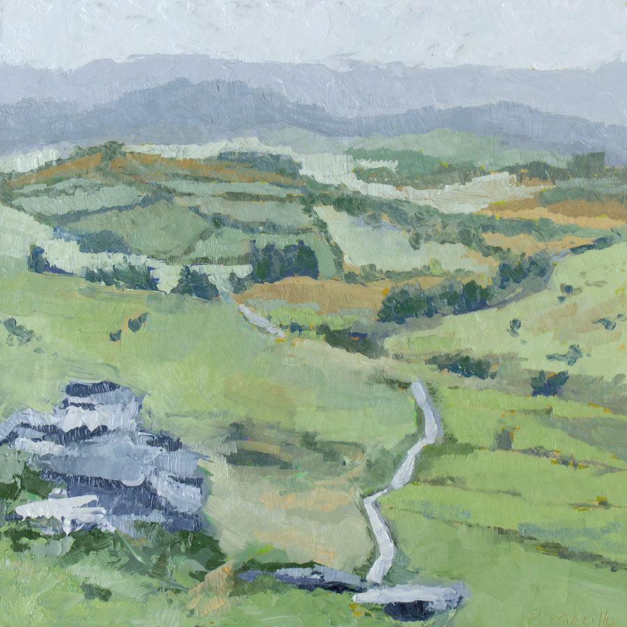 oil painting of a view across an open landscape of green fields with pale blue hills in the distance