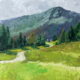 oil painting of a mountain road past an alpine field and evergreen forest leading towards a blue mountain
