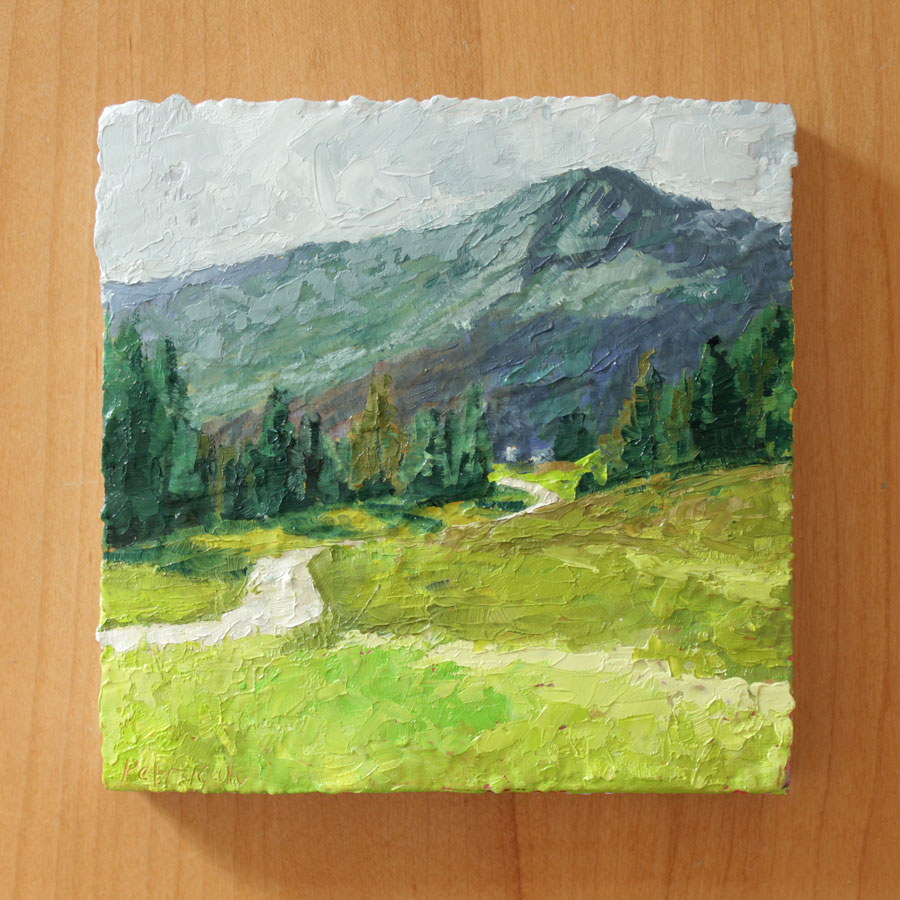 oil painting of a mountain road through an alpine field, past an evergreen forest, leading towards a blue and green mountain