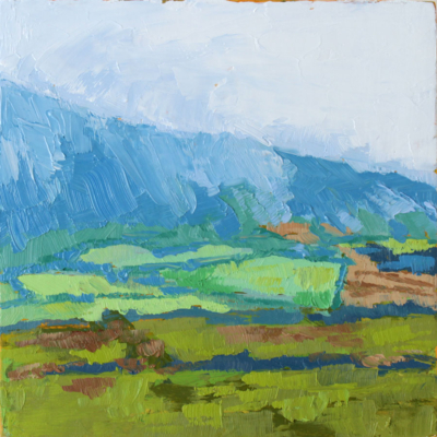 oil painting of light cascading over a mountain with green farm fields below