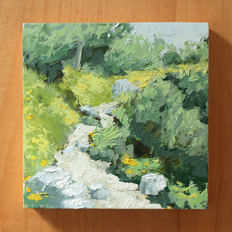 oil painting of a rocky alpine hiking trail up a mountain