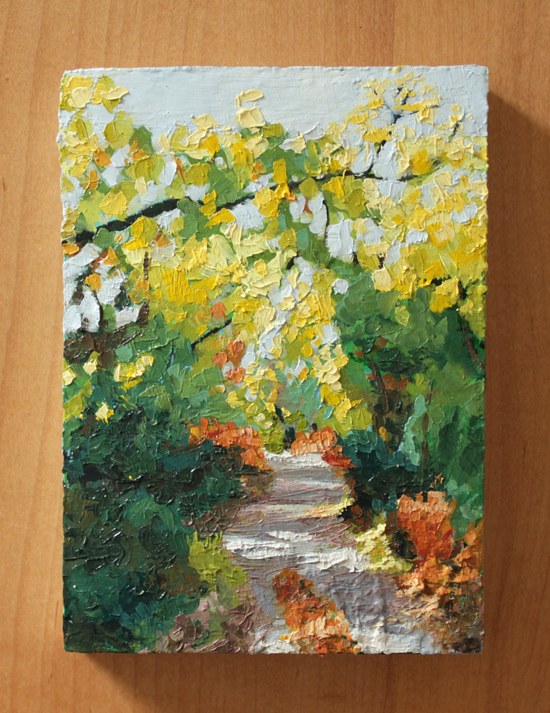 oil painting of a quiet leafy footpath through the woods