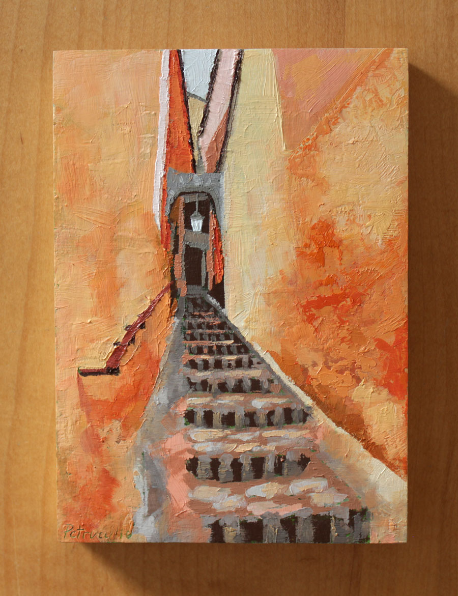 oil painting of a narrow passageway in Roussillon, a town in the Vaucluse department of the South of France. The village is famous for the ochre cliffs it's set on and the orange to red pigmentation dominant in the town's architecture