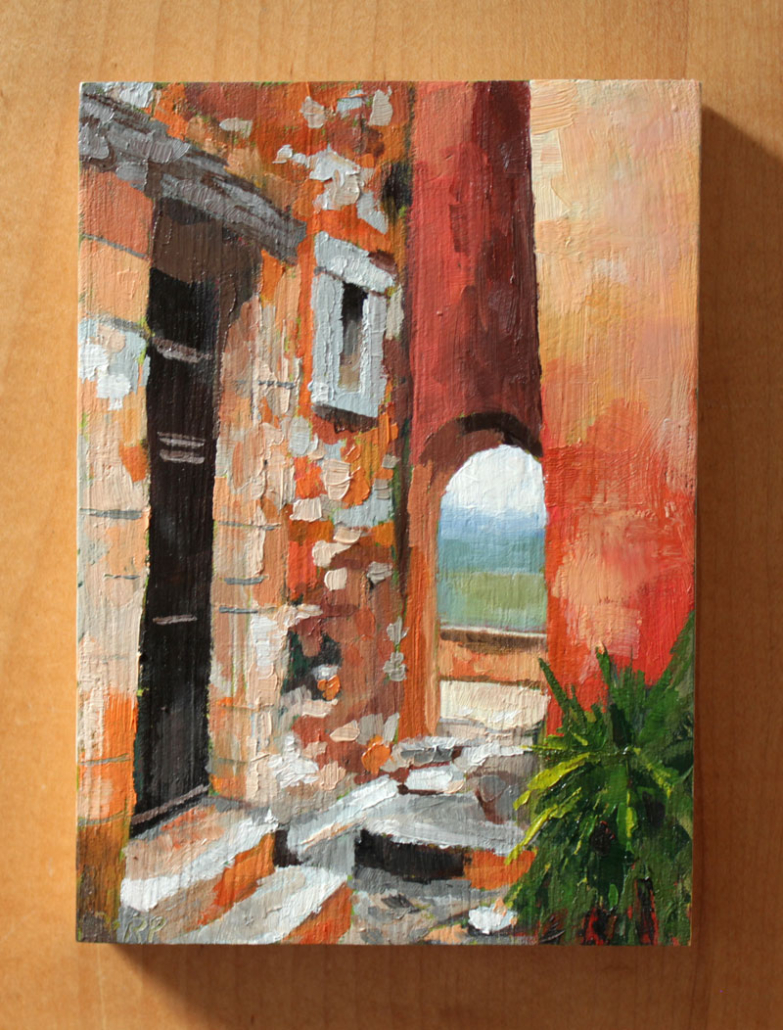 oil painting of Roussillon in the Vaucluse department of the South of France - a village famous for the ochre cliffs it's set on and the orange to red pigmentation dominant in the town's architecture