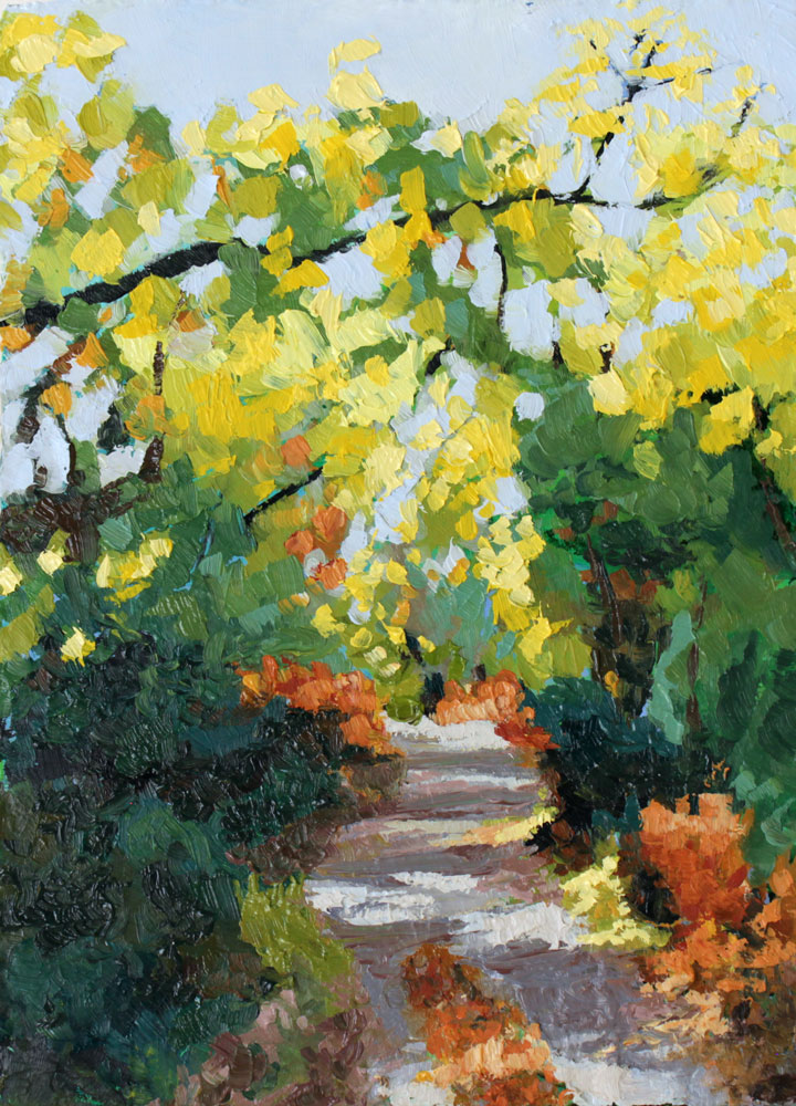 oil painting of a leafy footpath through the woods