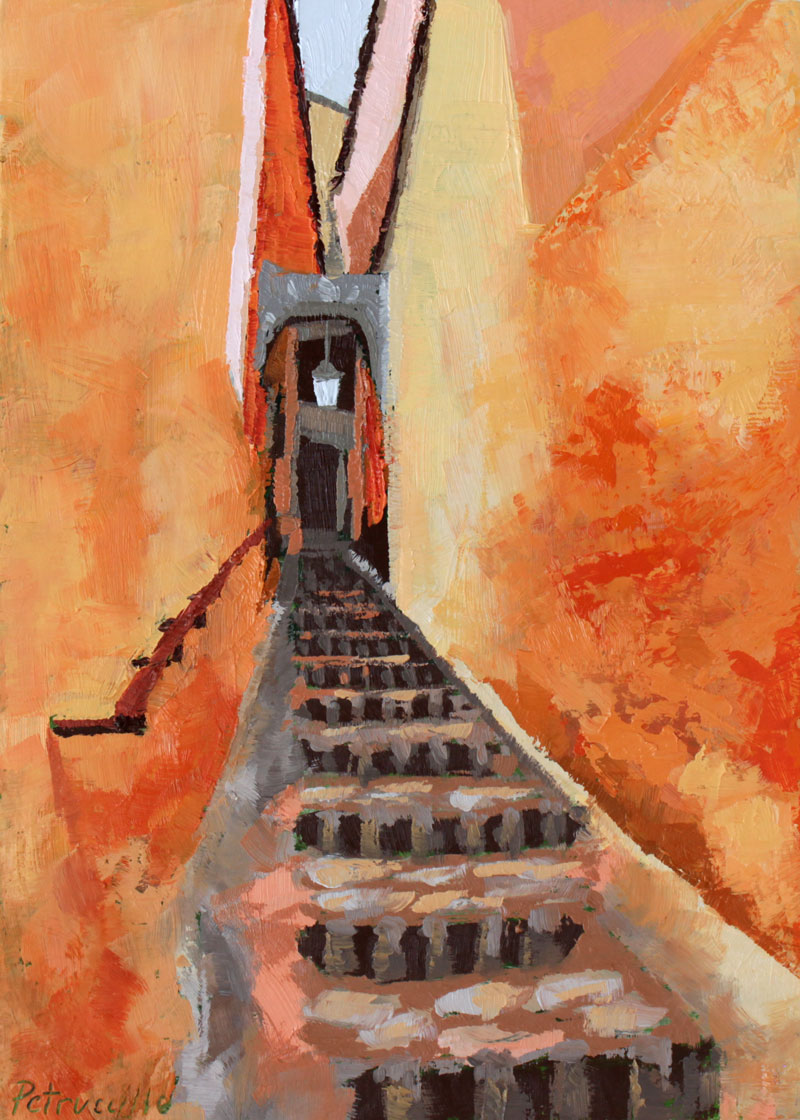 oil painting of a narrow passageway in Roussillon, a town in the Vaucluse department of the South of France.