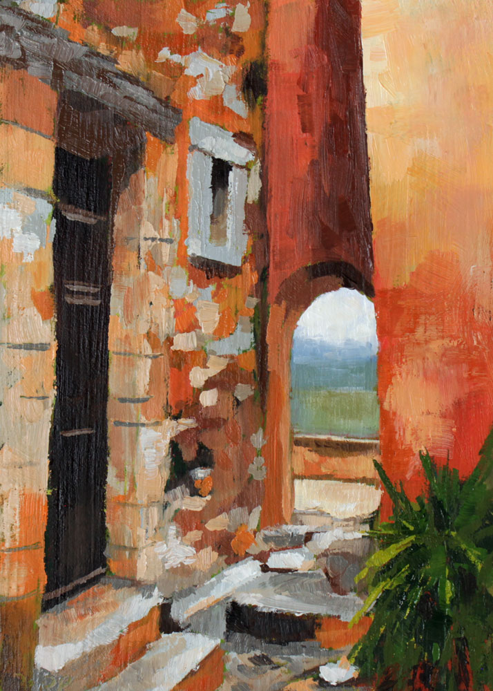 oil painting of a quiet corner of Roussillon in the South of France - a village famous for the ochre cliffs it's set on and the orange to red pigmentation dominant in the town's architecture