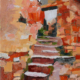 oil painting on wood panel of stone steps in the red stone village of Roussillon in the South of France