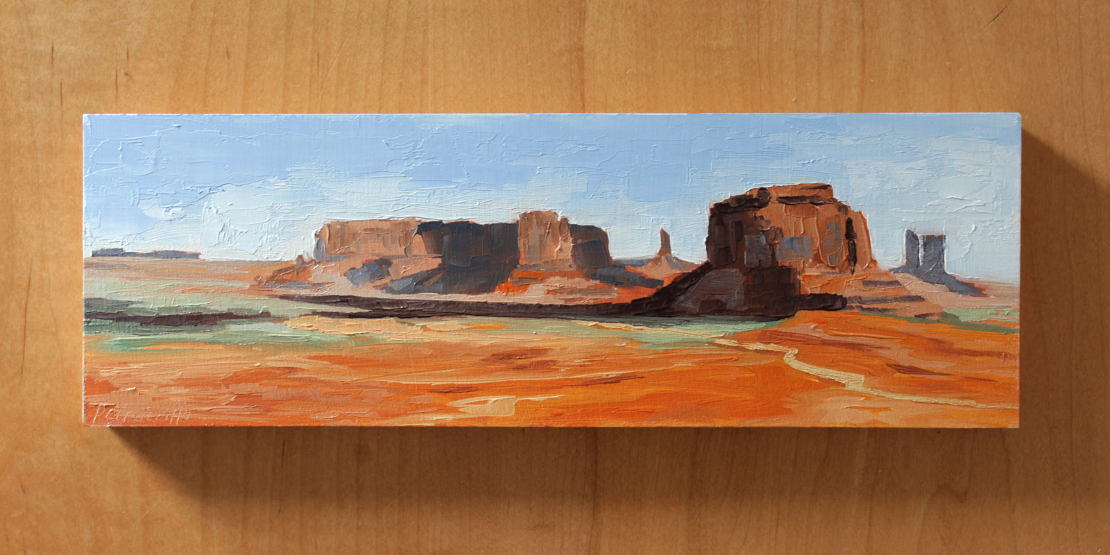 oil painting of monument valley in a red sand desert, navajo nation, arizona-utah