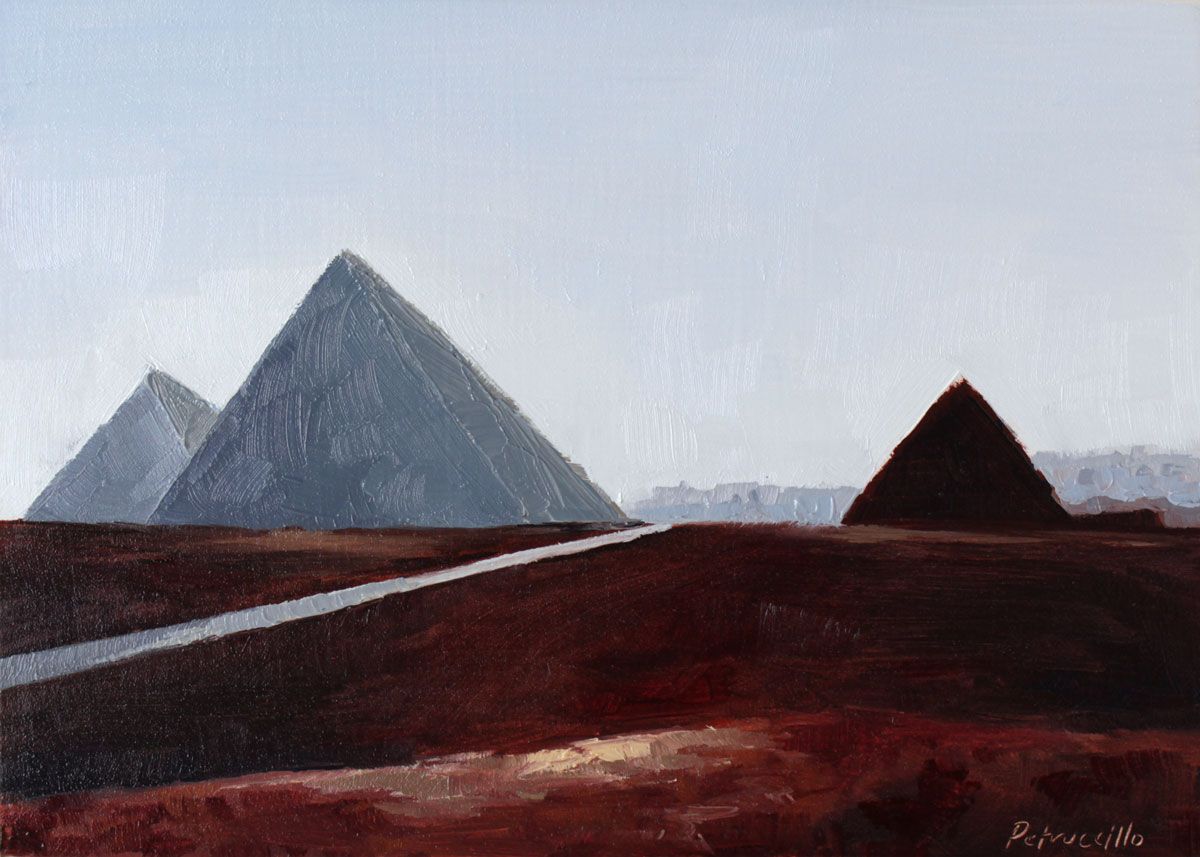 oil painting of the pyramids of giza in egypt