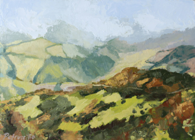 oil painting of a view of distant fields and a hiking trail as seen from a high altitude spiritual location
