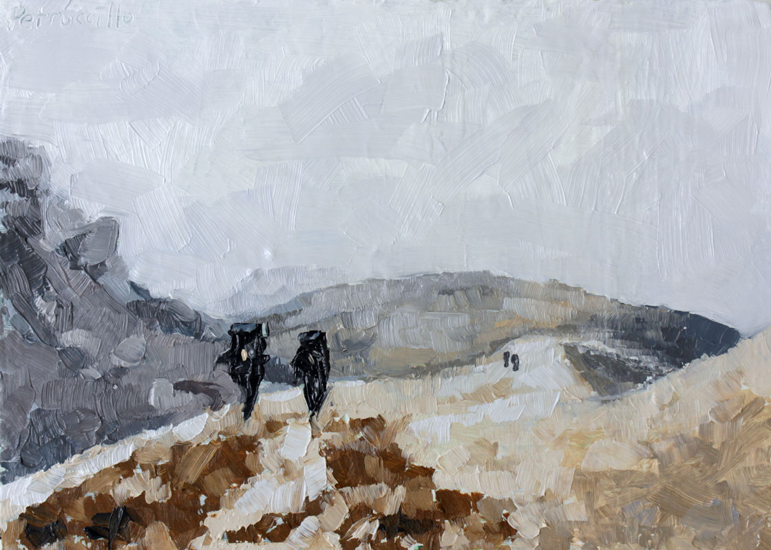 oil painting of mountain climbers on a snowy, rocky, mountain