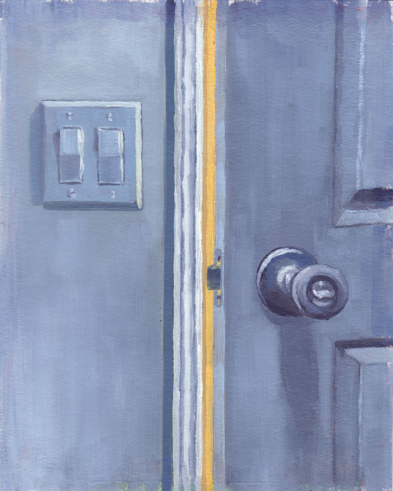 oil painting by Rachel Petruccillo of a partially open door