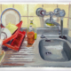 oil painting by Rachel Petruccillo of a kitchen sink with red dish drying rack