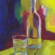 painting of a glass with carafe of water