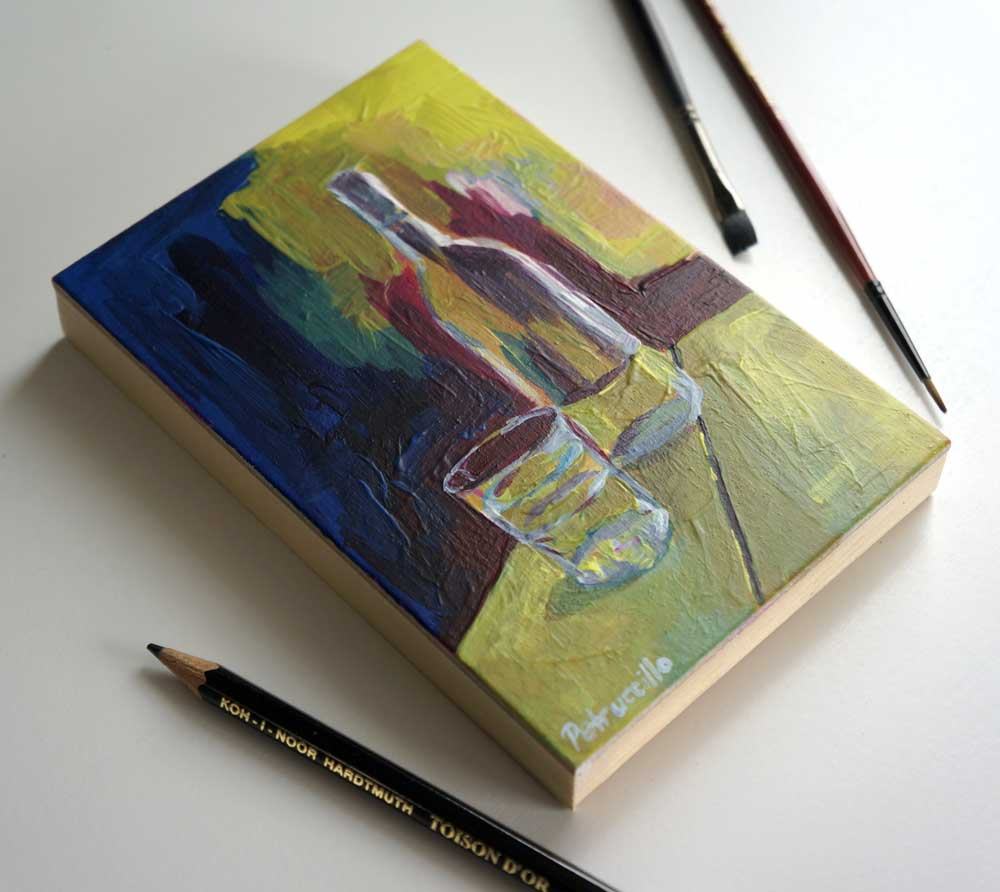 painting of a glass of water and carafe