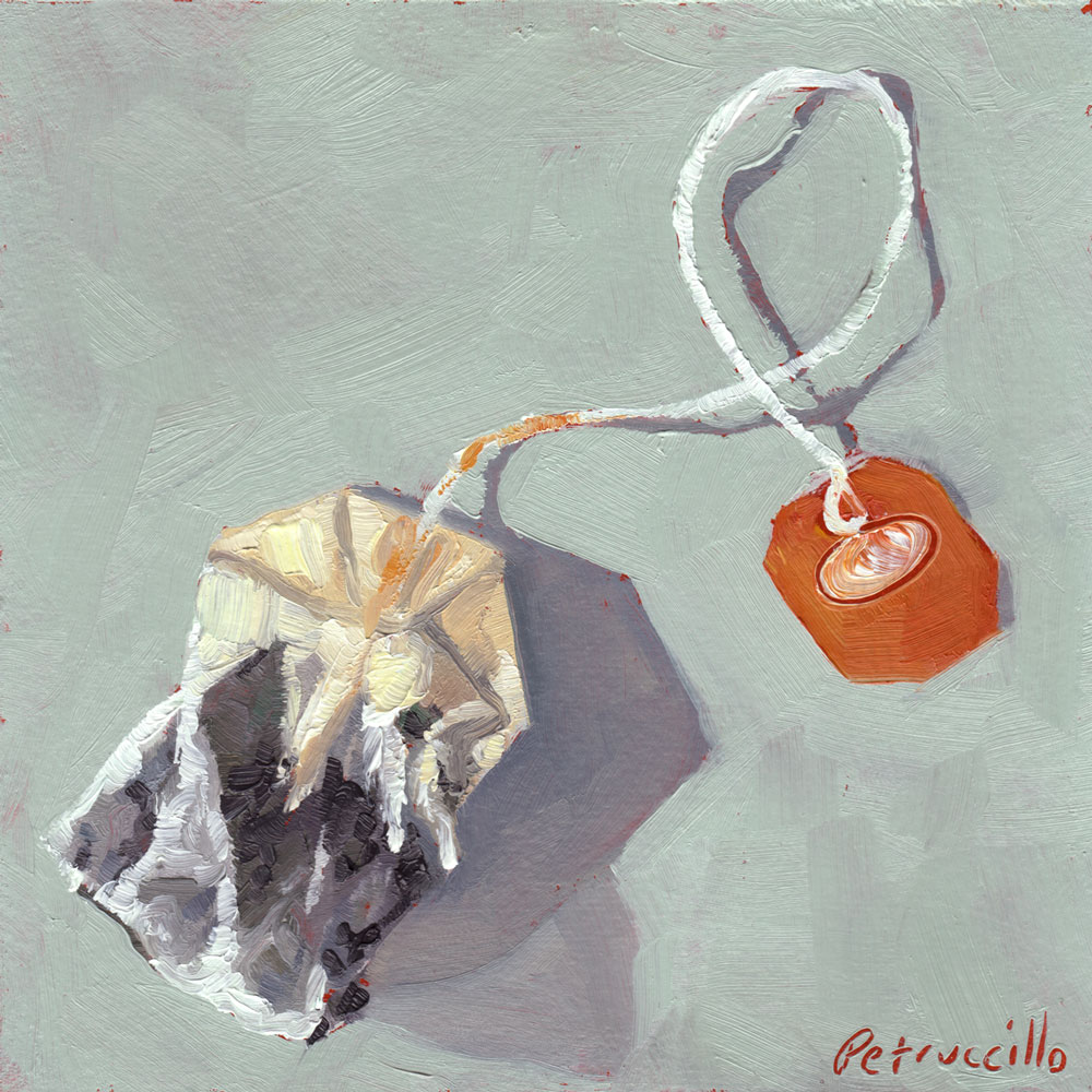 oil painting of a tea bag