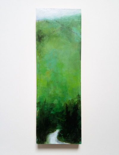 abstract green hills of ireland painting