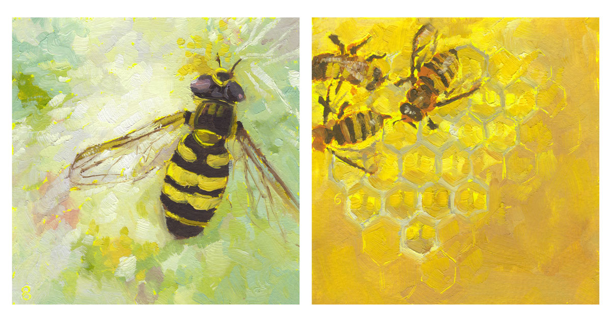 pollinator paintings honey bees and hover fly