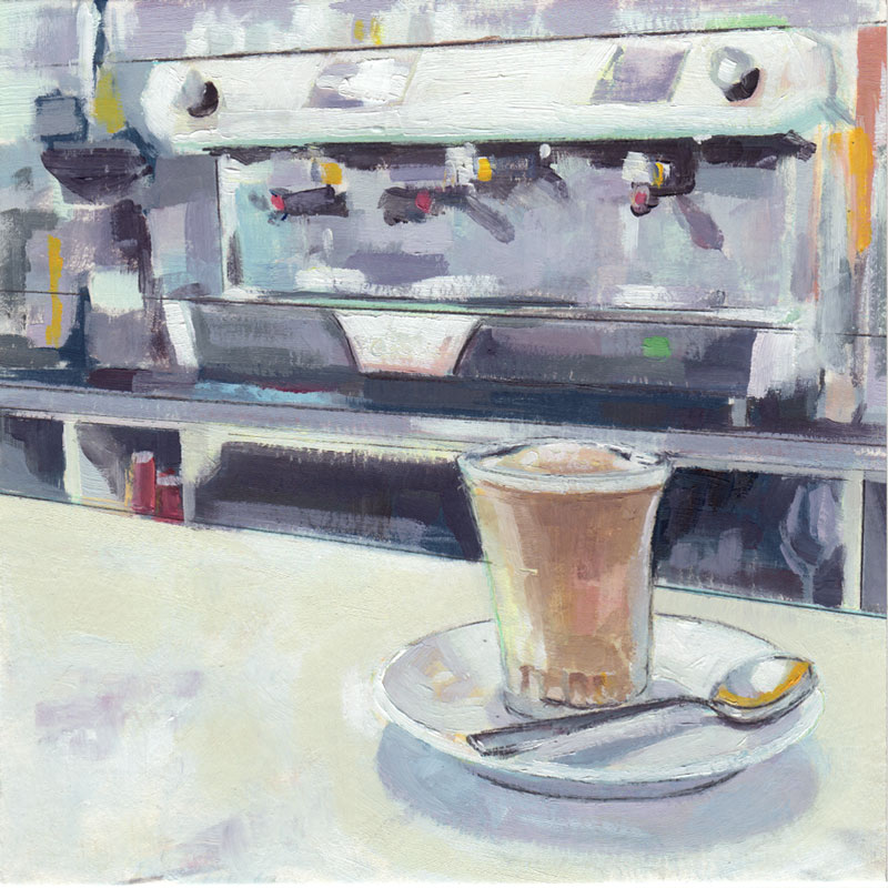 oil painting of a frozen coffee on a bar counter at an italian cafe with espresso machine in background