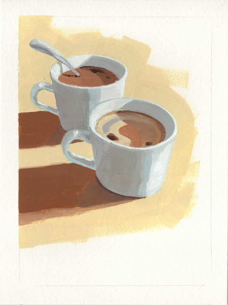 oil painting of two cups of coffee on a light tan colored background