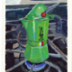 oil painting of a green bialetti alpina moka pot on a stainless steel stove top with the flame on