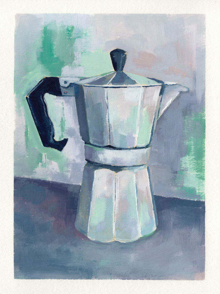 oil painting of a moka pot with a mostly grey blue purple palette and accents of green