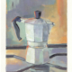 contemporary oil painting of a small moka pot on a stove top