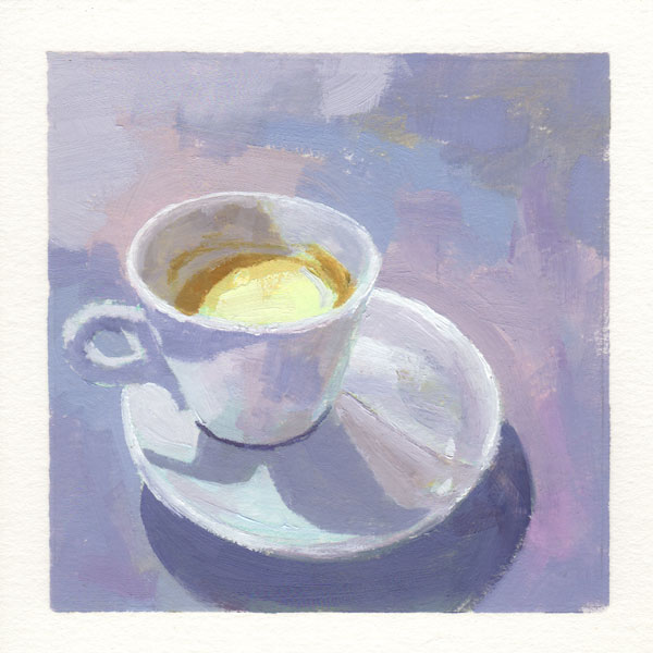 oil painting with a colorful purple mauve and blue background featuring a white cup of coffee on a white saucer