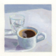 oil painting in mostly blue hues featuring a cup of coffee and a glass of water in a loose contemporary style