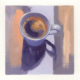 oil painting of a cup of coffee on a colorful background