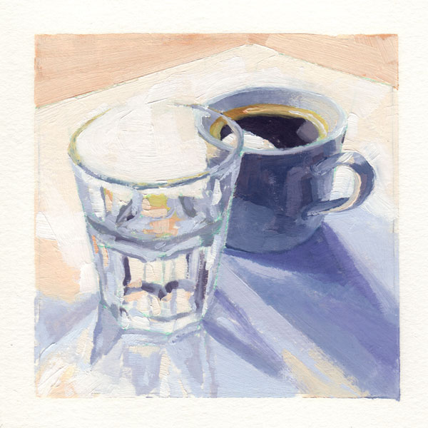 oil painting in grey pastel tones of a cup of coffee and a glass of water in a loose contemporary style