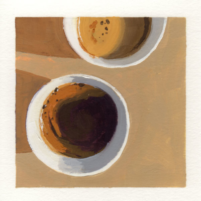 oil painting of a top down view of two coffee cups, one cup is partially cropped