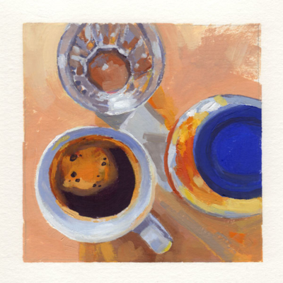 oil painting of a top down view of a kitchen counter with coffee cup, water glass and jam jar in the composition