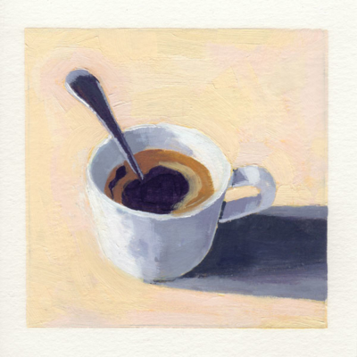 loosely realistic oil painting of a white cup of coffee with a spoon resting inside the cup