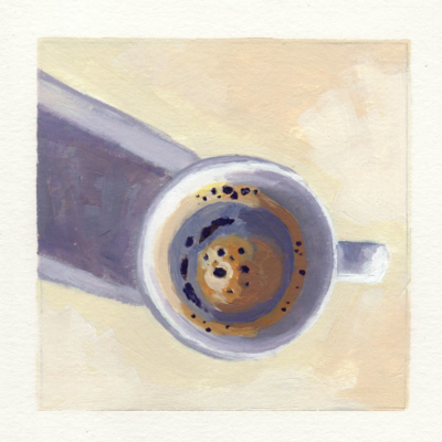 oil painting of a top down view of a cup of coffee casting a long shadow across the painting
