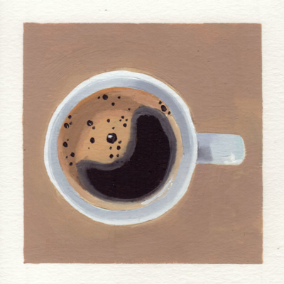 oil painting of a top down view of a cup of black coffee with the foam forming a shape