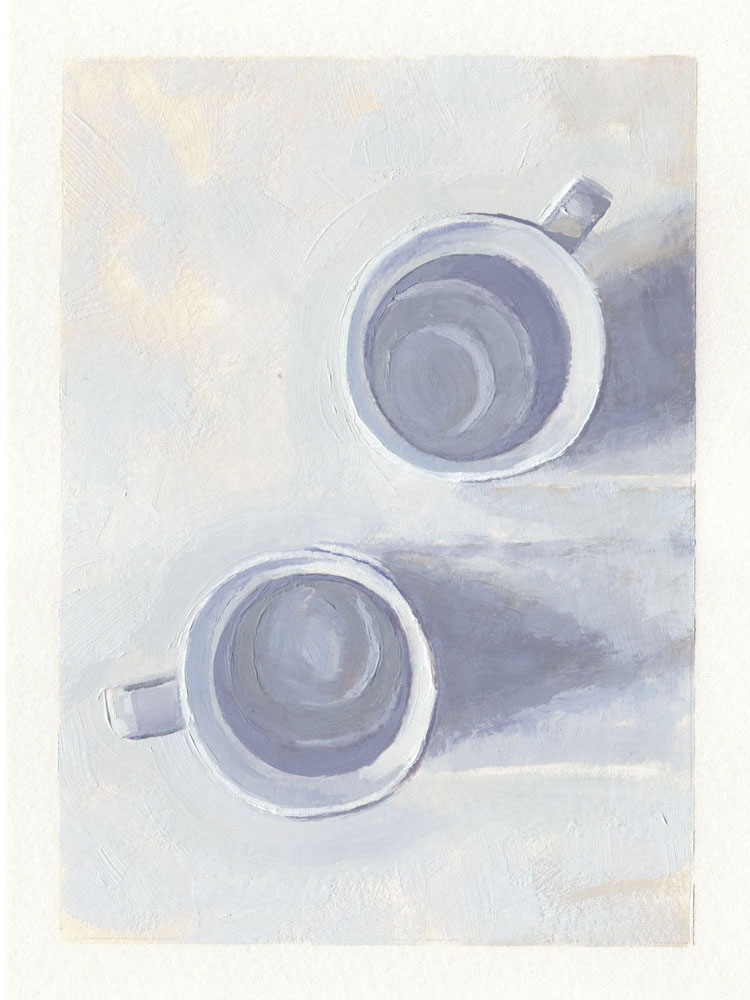 top down oil painting of two empty white coffee cups
