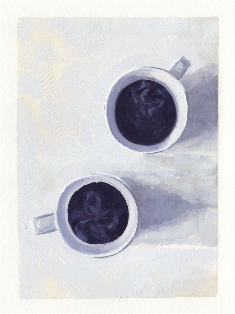 top down oil painting of two cups of coffee