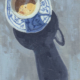 oil painting of a blue and white decorative cup filled with coffee