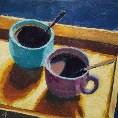 two cups on tray 52