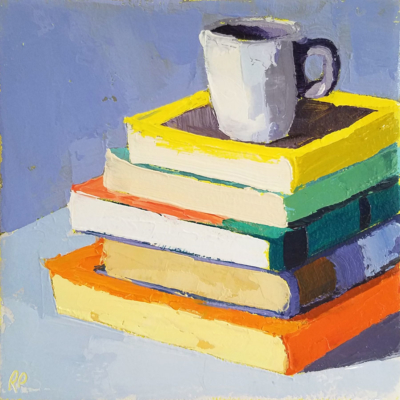 stack of 5 books with cup 38